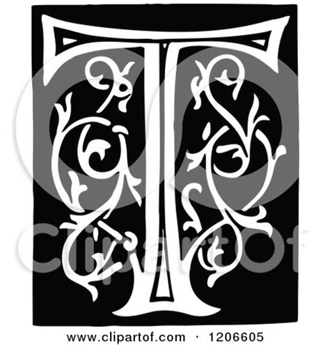 clipart   vintage black  white monogram letter  royalty  vector illustration