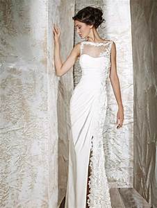 Clara simple wedding dress with classical lace sang maestro for Simple lace wedding dress