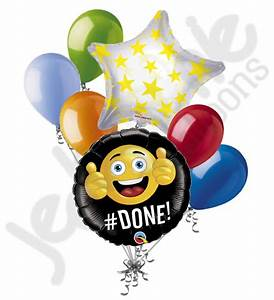 7 pc #Done Emoji Smiley Graduation Balloon Bouquet Party