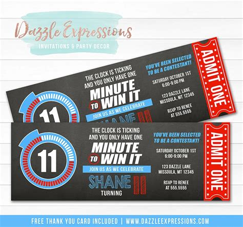 I apologize if this is one of many requests, new at the blog posts. Minute to Win It Inspired Ticket Birthday Invitation ...