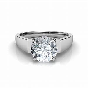 flat edge diamond engagement ring in platinum With flat wedding rings with diamonds