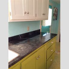 Faux Soapstone Countertops Painted Onto Existing White