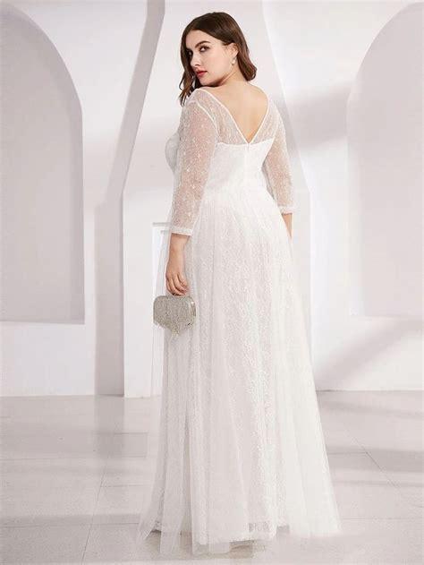 Women's V-Neck Lace Plus Size Wedding Guest Dresses with 3 ...