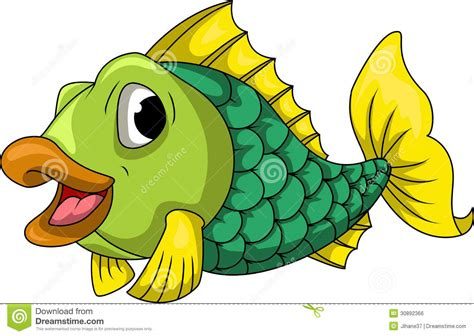 Green Fish Cartoon Stock Illustration Illustration Of