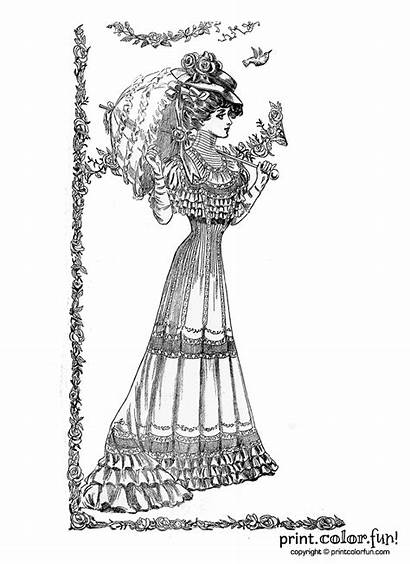 Coloring Pages Lady Victorian Ladies 1907 Springtime