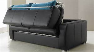 Canape convertible en cuir 3 places lit 140 cm promo usine for Canapé cuir 3 places convertible