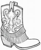 Coloring Boots Cowboy Adult Drawing Western Boot Easy Dog Outline Printable Wickedbabesblog Draw sketch template
