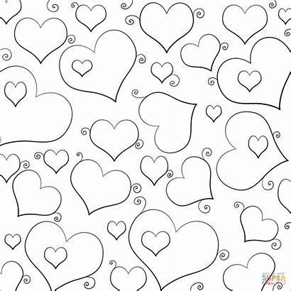 Hearts Coloring Lots Heart Corazones Colorare Cuori