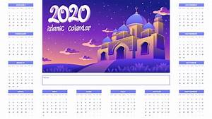 Free August 2020 Calendar Printable 2020 Islamic Calendar With Golden Mosque At Night