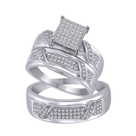 his and hers diamond wedding trio ring 14k white gold over sterling silver ebay