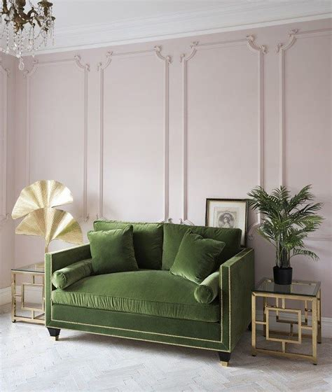 Pale Pink Sofa by Pale Pink Walls And Olive Green Sofa In An Deco