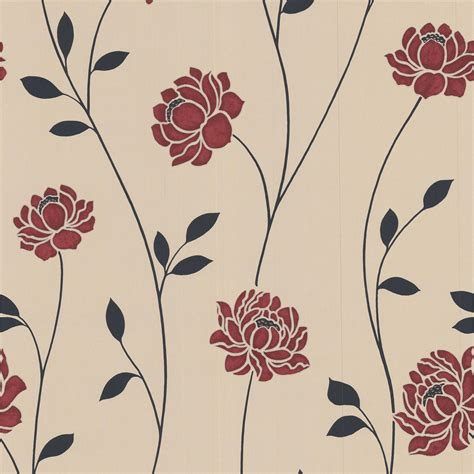 red  cream floral wallpaper gallery