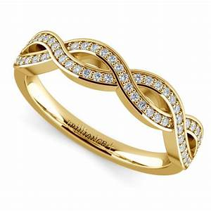 Infinity twist diamond wedding ring in yellow gold for Infinity twist wedding ring
