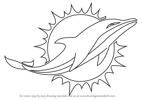 Learn How To Draw Miami Dolphins Logo (nfl) Step By Step  Drawing Tutorials