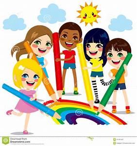 Kinder, Die Regenbogen Zeichnen Vektor Abbildung ...
