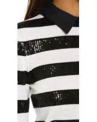 alice olivia marlee sequin stripe sweater  black