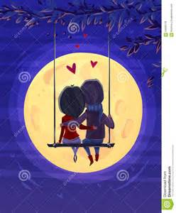 boy and girl looking at the moon romantic night stock vector image 64926178