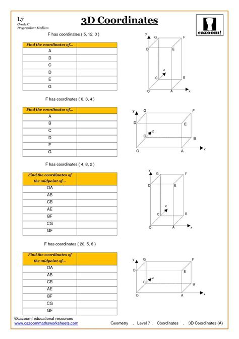 geometry coordinate worksheet ks4 and ks3 geometry