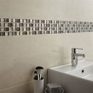 mosaique mur glass select mix marron leroy merlin With salle de bain frise mosaique