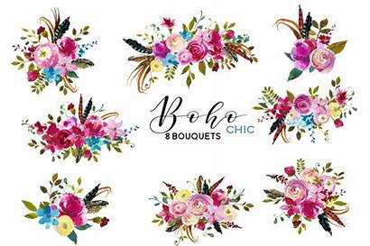 Boho Watercolor Flowers Clipart Pink Chic Clip
