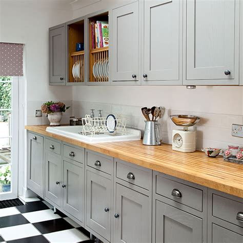 B Q Kitchen Cupboard Handles by Grey Shaker Style Kitchen With Wooden Worktop Decorating