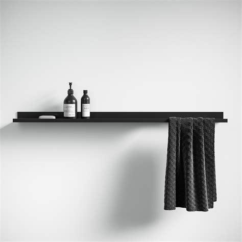 designo matte black floating bathroom shelf  accessories