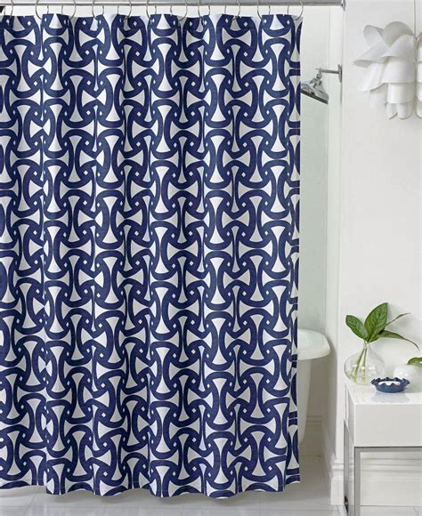 shower curtain with navy blue santorini also geometric