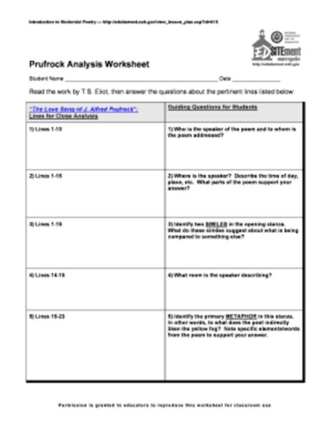 answers to prufrock analysis worksheet introduction to modernist poetry prufrock analysis