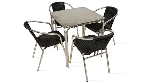 chaises de table table carrée aluminium 4 places