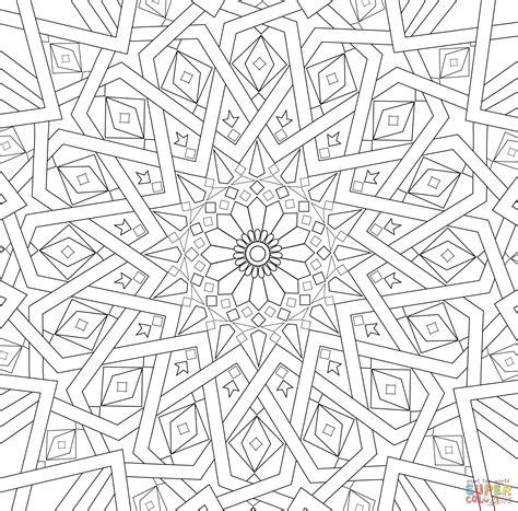 traditional islamic mosaic coloring page  printable