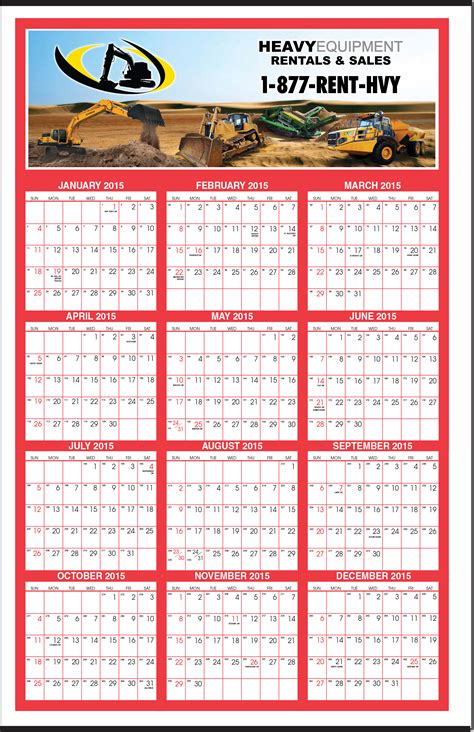 huge full color year   glance calendar