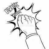Knock Door Knocking Coloring Clipart Kanak Porta Gambar Della Koleksi Mano Isolated Comic Colorare Vettore Libro Tangan Mewarna Untuk Terbaik sketch template