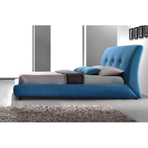 sache teal blue fabric finish double bed  furniture