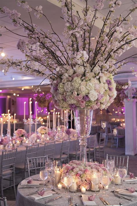 tall ornate pink cherry blossom centerpieces beautiful