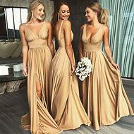 Babyonline Sexy V Neck Champagne Gold Long Bridesmaid Dresses 2019 Side  Split Custom Made Wedding Party 36adb7b1380c