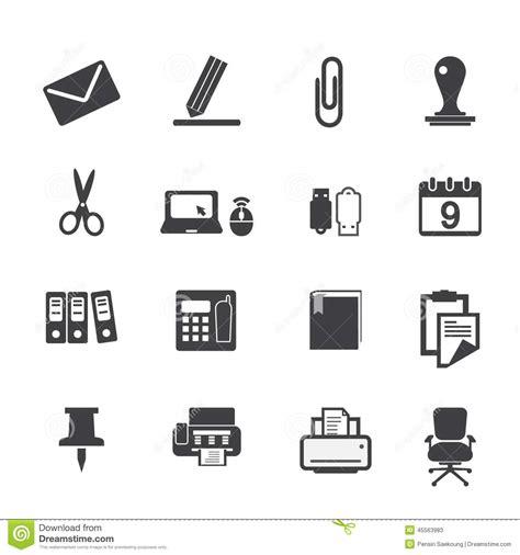 pictogramme bureau icônes de fournitures de bureau réglées illustration de