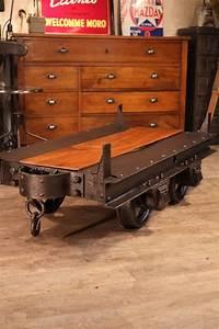 Meuble Industriel Vintage : wagonnet de mine ancien deco industrielle meuble industriel vintage de renaud jaylac deco ~ Nature-et-papiers.com Idées de Décoration