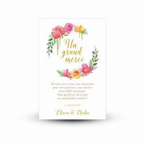 Carte remerciement mariage avec photo remerciement for Chambre bébé design avec faire part mariage fleuri