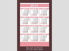 Pink Pocket Calendar 2014, Start On Monday Royalty Free