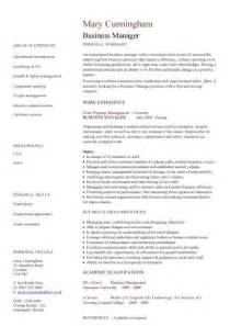 business manager resume tips business manager cv sle time management resume