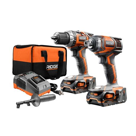drill driver impact ridgid cordless tool volt combo kit batteries homedepot charger lithium depot ion x4 bag fetch ah includes