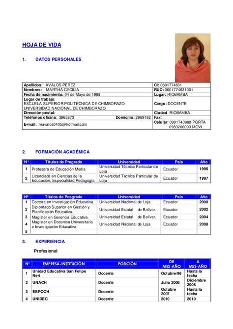 Formato De Resume by Formato Curriculum 2013