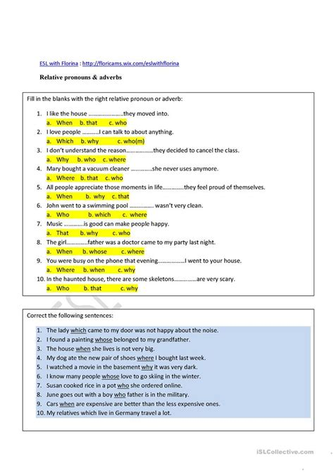 Relative Pronouns & Adverbs Worksheet  Free Esl Printable Worksheets Made By Teachers