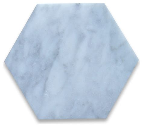 carrara marble hexagon tile 6 inch polished traditional