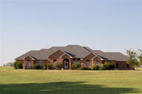 modern large ranch style brick house stock image image