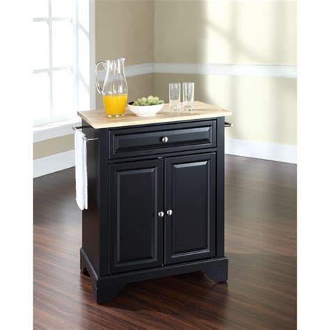 Crosley Furniture Lafayette Natural Wood Top Portable