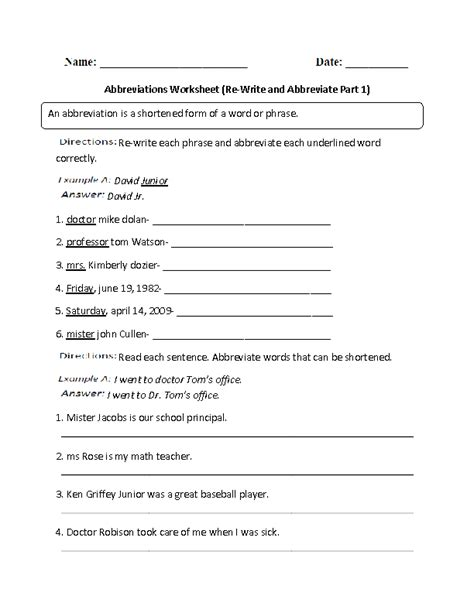 Abbreviations Worksheets  Shortening Words With Abbreviations Worksheet