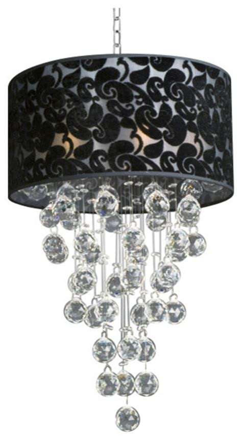 Chandelier With Black Shade And Drops by Modern Chandelier With Black Shade Drop