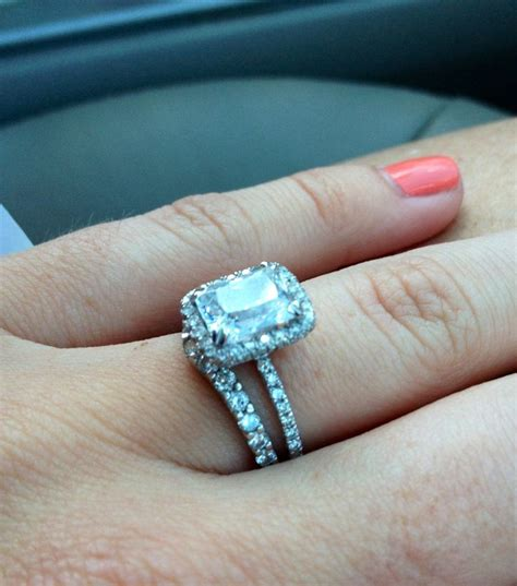 radiant halo cut engagement ring wedding dress pinterest