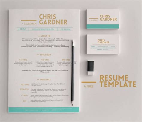 free minimalistic free resume and business card template